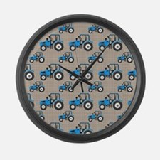 Blue Tractor Pattern Large Wall Clock