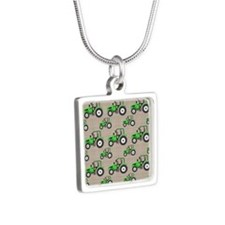 Green Tractor Pattern Necklaces