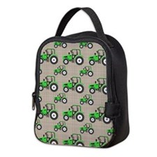 Green Tractor Pattern Neoprene Lunch Bag