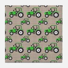 Green Tractor Pattern Tile Coaster