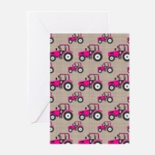 Pink Tractor Pattern Greeting Cards