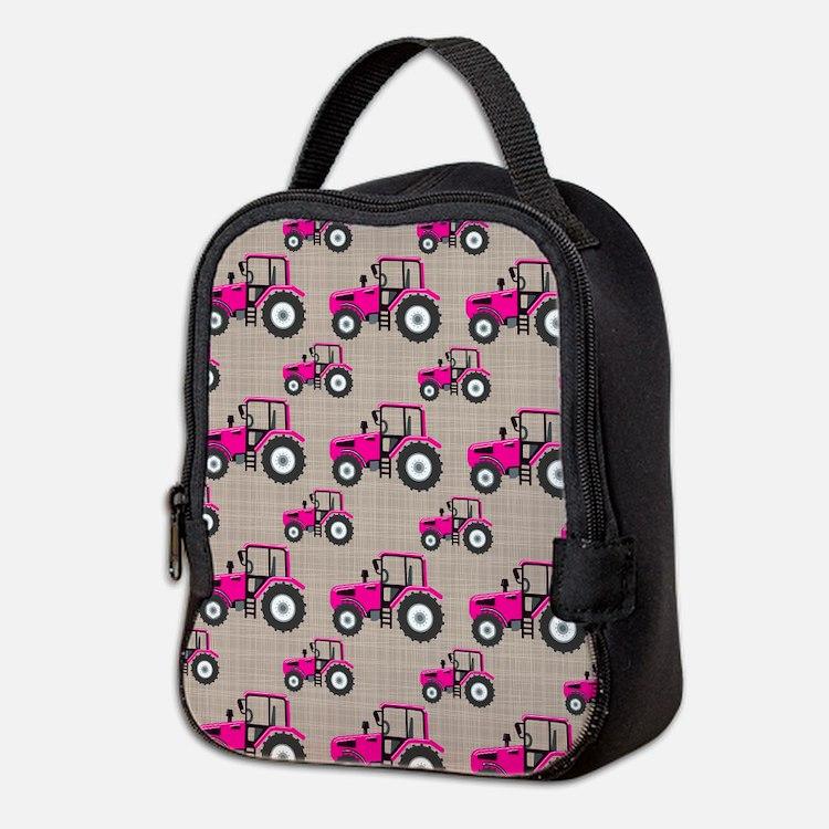 Pink Tractor Pattern Neoprene Lunch Bag