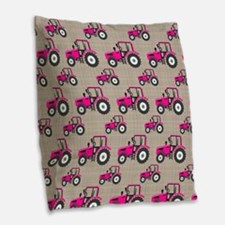 Pink Tractor Pattern Burlap Throw Pillow