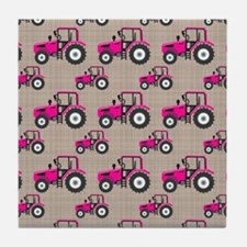 Pink Tractor Pattern Tile Coaster