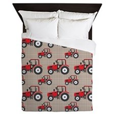 Red Tractor Pattern Queen Duvet