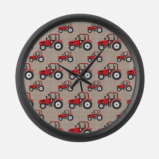 Red Tractor Pattern Large Wall Clock