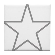 Grey Star Outline Tile Coaster