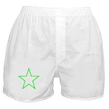 Neon Green Star Outline Boxer Shorts