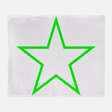 Neon Green Star Outline Throw Blanket