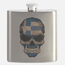 Greek Flag Skull Flask