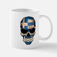 Greek Flag Skull Mugs