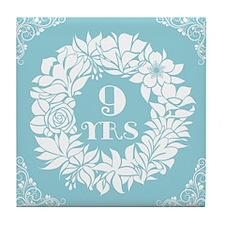 9th Anniversary Wreath Tile Coaster