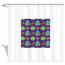Cute Sea Life on Purple Shower Curtain