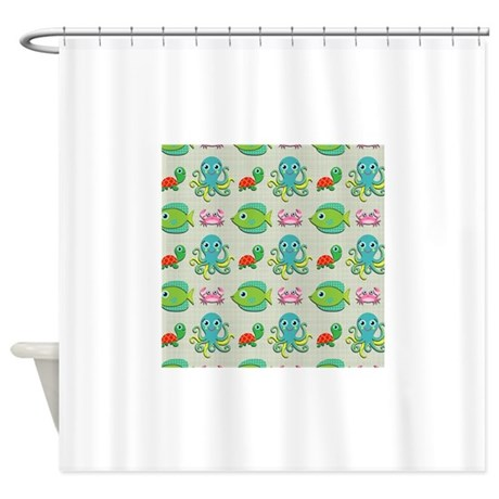 cute sea life on tan shower curtain by clipartmegamart