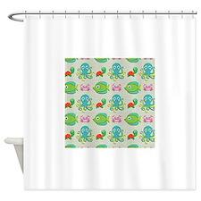 Cute Sea Life on Tan Shower Curtain