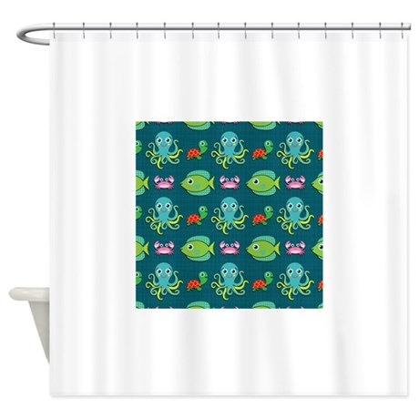 cute sea life on turquoise shower curtain by clipartmegamart