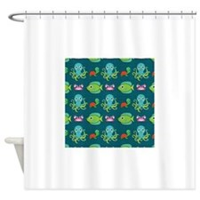 Cute Sea Life on Turquoise Shower Curtain