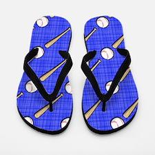 Royal Blue Baseball Pattern Flip Flops