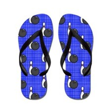 Royal Blue Bowling Ball Pattern Flip Flops