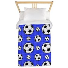 Royal Blue Soccer Ball Pattern Twin Duvet