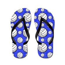 Royal Blue Volleyball Pattern Flip Flops
