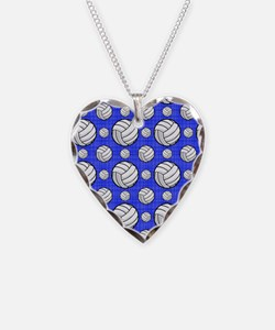 Royal Blue Volleyball Pattern Necklace