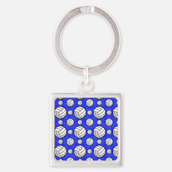 Royal Blue Volleyball Pattern Keychains