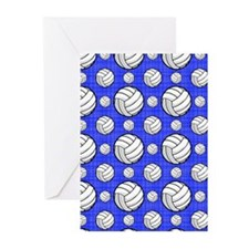 Royal Blue Volleyball Pattern Greeting Cards