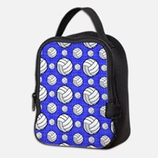 Royal Blue Volleyball Pattern Neoprene Lunch Bag