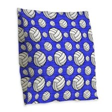 Royal Blue Volleyball Pattern Burlap Throw Pillow
