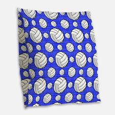 Royal Blue Volleyball Pattern Burlap Throw Pillow