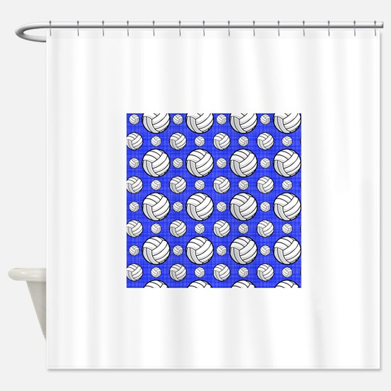 Royal Blue Volleyball Pattern Shower Curtain