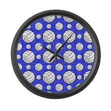Royal Blue Volleyball Pattern Large Wall Clock