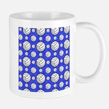 Royal Blue Volleyball Pattern Mugs