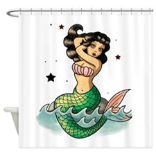 Old School Mermaid Shower Curtain