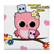 Owl Mothers Tile Coaster