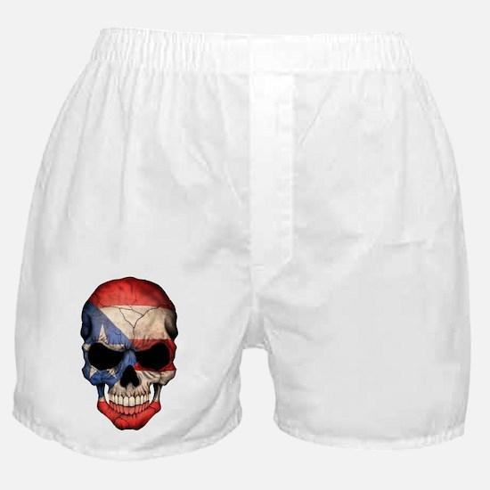 Puerto Rico Flag Skull Boxer Shorts