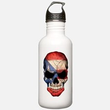 Puerto Rico Flag Skull Water Bottle
