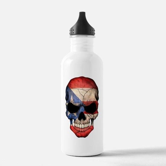 Puerto Rico Flag Skull Water Bottle
