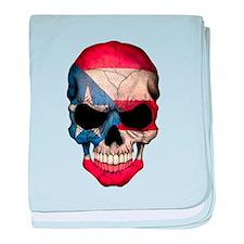 Puerto Rico Flag Skull baby blanket
