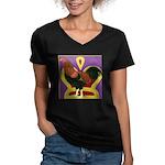 King Chantecler Women's V-Neck Dark T-Shirt