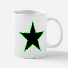 Dotted Neon Green Trim Black Star Mugs