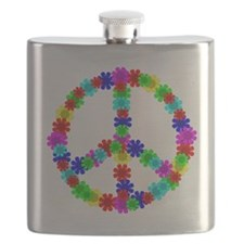 1960's Hippie Flowers Peace Flask