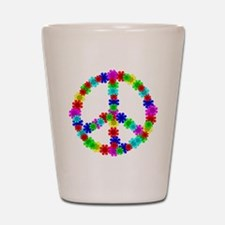 1960's Hippie Flowers Peace Shot Glass