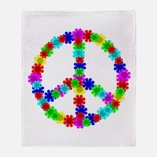 1960's Hippie Flowers Peace Throw Blanket