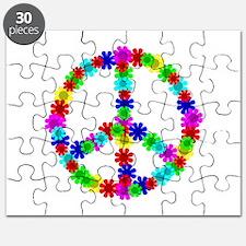 1960's Hippie Flowers Peace Puzzle