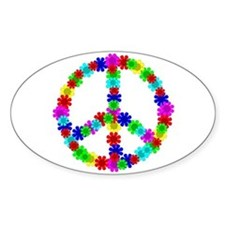 1960's Hippie Flowers Peace Decal