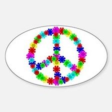 1960's Hippie Flowers Peace Sticker (Oval)