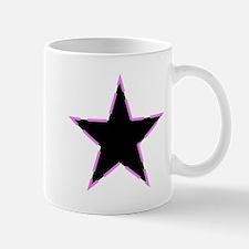 Dotted Pink Trim Black Star Mugs