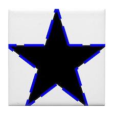 Dotted Blue Trim Black Star Tile Coaster
